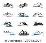 set of twelve mountain icons  | Shutterstock .eps vector #270431024