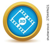 gold 3d film icon on a white...