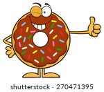 winking chocolate donut cartoon ... | Shutterstock .eps vector #270471395