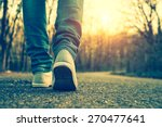 Stock photo woman jeans and sneaker shoes 270477641