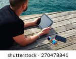 young tourist man using digital ...   Shutterstock . vector #270478841
