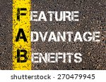 Small photo of Business Acronym FAB - Feature Advantage Benefits. Yellow paint line on the road against asphalt background. Conceptual image