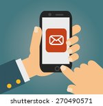 hand touching smart phone with... | Shutterstock .eps vector #270490571