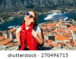 young woman traveler in red... | Shutterstock . vector #270496715