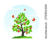 spring tree with green leaves ...   Shutterstock .eps vector #270501404