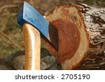 detail of blue axe in cut down... | Shutterstock . vector #2705190