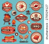 vintage bbq party label design... | Shutterstock .eps vector #270529127