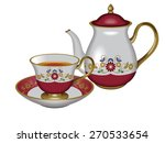 illustration of a teapot and a... | Shutterstock . vector #270533654