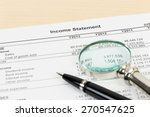 income statement with pen  and... | Shutterstock . vector #270547625