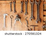 old vintage tools hanging on a... | Shutterstock . vector #270581324
