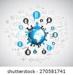 flat style concept for social... | Shutterstock .eps vector #270581741