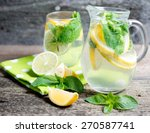 mineral water with a lemon and... | Shutterstock . vector #270587741