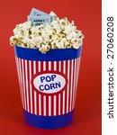 a popcorn bucket over a red... | Shutterstock . vector #27060208