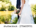 groom holding bouquet with your ... | Shutterstock . vector #270605951