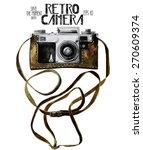 watercolor vintage slr camera... | Shutterstock .eps vector #270609374