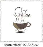 coffee cup with line drawing... | Shutterstock .eps vector #270614057