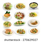 Set Of Thai Food On White...