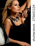 fashionable woman on black...   Shutterstock . vector #270631124