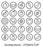 fruit and vegetables linear... | Shutterstock .eps vector #270641729