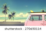 vintage car in the beach with a ... | Shutterstock . vector #270650114
