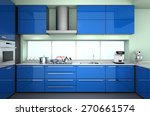 Stock photo modern kitchen interior in blue color theme d rendering image 270661574