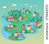 detailed flat 3d isometric city ... | Shutterstock .eps vector #270663551