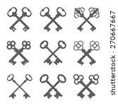 set of crossed keys silhouettes ... | Shutterstock .eps vector #270667667