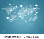 social network scheme on earth... | Shutterstock . vector #270681131