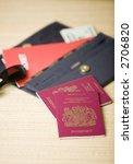 wallet with passports  tickets...   Shutterstock . vector #2706820