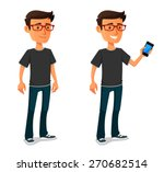 funny cartoon guy with mobile... | Shutterstock .eps vector #270682514