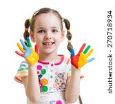 child girl with color painted... | Shutterstock . vector #270718934