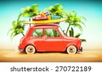 funny retro car with surfboard... | Shutterstock . vector #270722189