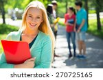female student outdoors with... | Shutterstock . vector #270725165