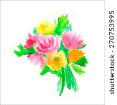 watercolor bouquet. vector... | Shutterstock .eps vector #270753995