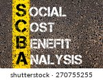 Small photo of Business Acronym SCBA as Social Cost Benefit Analysis. Yellow paint line on the road against asphalt background. Conceptual image
