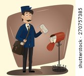 funny postman with letter and... | Shutterstock .eps vector #270757385