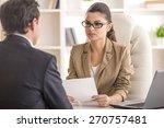 businesswoman interviewing male ... | Shutterstock . vector #270757481