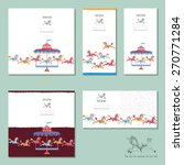 5 Invitation Cards With Vintag...