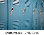 Blue School Lockers In A...