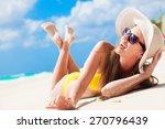 long haired girl in bikini... | Shutterstock . vector #270796439