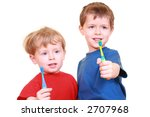 two little boys with tooth...   Shutterstock . vector #2707968