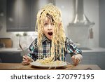 surprised boy with pasta on the ... | Shutterstock . vector #270797195