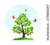 spring tree with green leaves ...   Shutterstock . vector #270800057