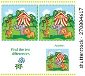 Find differences between the two images with animals and circus - stock vector
