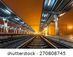 Railway Station At Night. Trai...