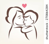 mother and son stylized vector... | Shutterstock .eps vector #270864284