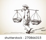 Man Carrying A Yoke On His...