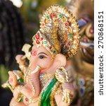 Small photo of Ganesh ,elephant god, figure closeup focused on face