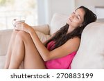 pretty brunette relaxing on the ... | Shutterstock . vector #270883199