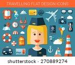 set of modern travel flat... | Shutterstock . vector #270889274